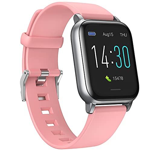 QFSLR Smart Watch Reloj Inteligente Fitness Tracker con Termómetro Ciclo Menstrual Femenino Monitor De Frecuencia Cardíaca Monitor De Presión Arterial Monitoreo De Oxígeno En Sangre,Rosado