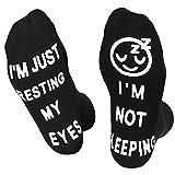 Novelty Crew Socks Birthday Gifts for Men Dad Grandpa Son Women Grandma Daughter : I'm Not Sleeping I'm Just Resting My Eyes