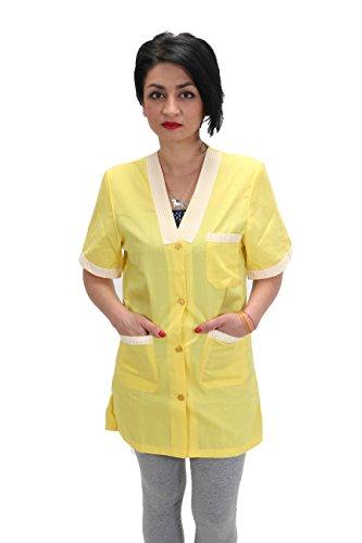 Petersabitidalavoro - Bata de trabajo para mujer, para guardería, guardería, supermercados, empresas de limpieza doméstica, color amarillo amarillo S