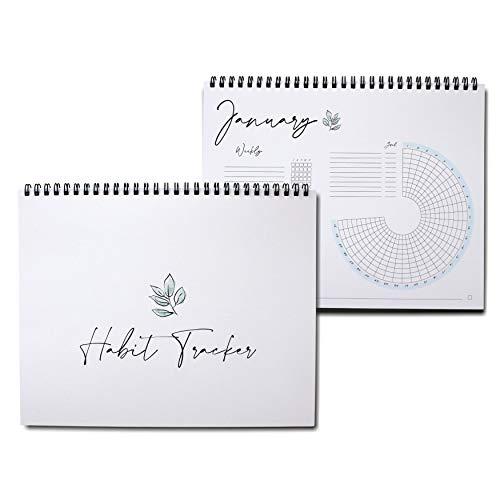 Habit Tracker Calendar - Planner Notepad, Spiral Bound Habit Tracker Journal with Goal Planner + Weekly Planner Pad - Undated 12 Months, 8'x10'