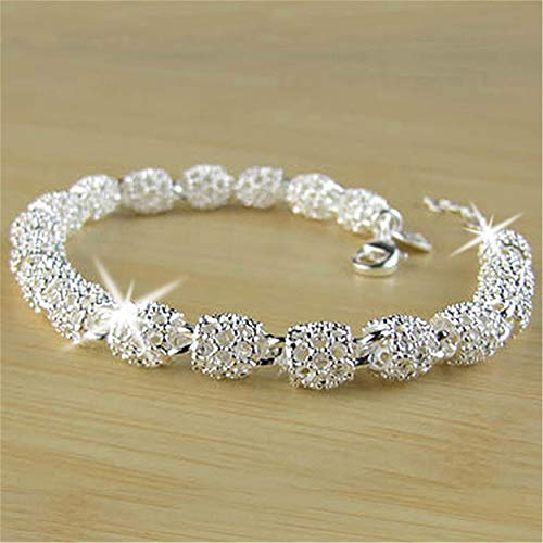 FWQW Bracelet Women's Sterling Silver Hollow Chain Bracelet Charm Wrist Bangle Gift