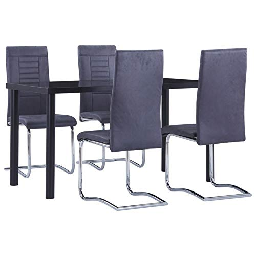 pedkit Conjunto de Mesa sillas,Mesa Salón y Sillas,Muebles de Jardin Exterior Conjuntos 4# Juego de Comedor 5 Piezas Piel de Ante Artificial Gris