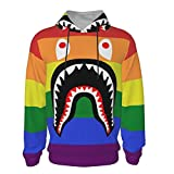 NiYoung Pullover Hooded Sweatshirts with Big Pockets, Long Sleeves Fitted Hoodies for Gym Picnic Sports, Children LGBT Pride Rainbow Flag bapes Shark Teeth Logo Hoodie