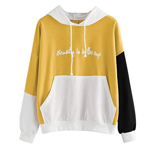 Damen Kapuzenpulli, Ulanda Teenager Mädchen Pullover Hoodie Pulli Sweatshirt Streetwear Langarm Kapuzenpullover mit Stickerei Tops Bluse Brief Kapuzen Sweatshirt