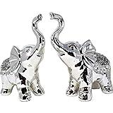 Amazing Crystal Gifts Paire d'éléphants en céramique pour décoration de jardin - Sculpture - Cadeau de mariage - Statues de bon augure - Paire d'argent