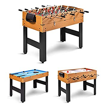 GYMAX 3 in 1 Game Table 48 in Multi Game Table with Foosball Hockey & Billiards Competition Sized Combo Game Table for Home Game Room Bar Party Club  Natural