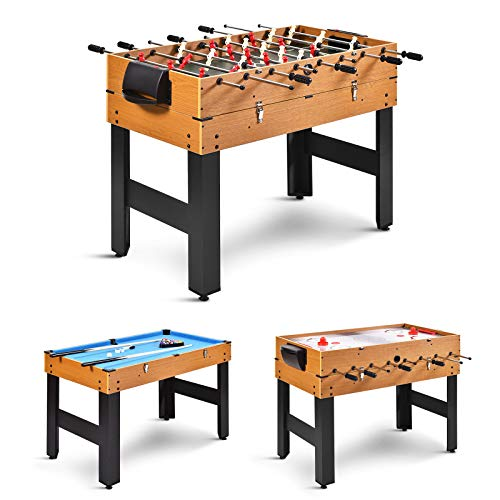 GYMAX 3 in 1 Game Table, 48 in Multi Game Table with Foosball Hockey & Billiards, Competition Sized Combo Game Table for Home, Game Room, Bar, Party, Club (Natural)