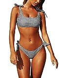heekpek Mujeres Conjunto de Bikini Enrejado Verano Traje de Baño Mujer Push Up Brasileño Bikini Acolchado Sujetador Ropa de Playa Bañadores Deportivas con Relleno