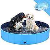 GoStock Dog Pool Foldable Dog Pet Kids Bath Pool Swimming Pool Paddling Pool Portable PVC Non-Slip Large Pet Dog Cat Bathing Tub Children Pet Dog Pool for Indoor/Outdoor (Bonus Pet Bath Brush) 32'x 8'