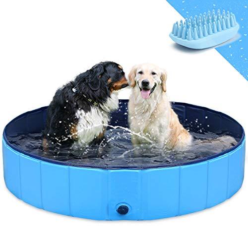 """GoStock Piscina para Perros Plegable Mascota Piscina portátil Bañera para niños Gran Mascota Perro Gato PVC Antideslizante para Interiores/Exteriores (Cepillo de baño Adicional para Mascotas) 32""""x8"""""""