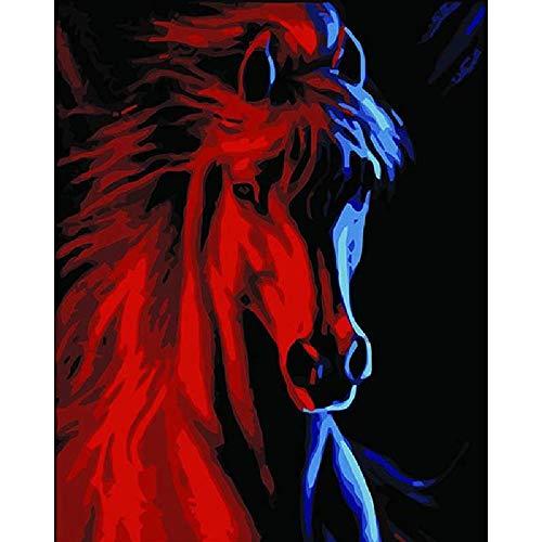 None_branded digitale olieverfschilderij om te knutselen, rode kop, paard, wanddecoratie, cadeau, decoratie, hobby, handbeschilderd, modern, 40 x 50 cm