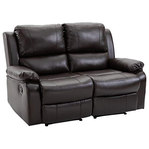 HOMCOM Doppelsofa Relaxliege Relaxsessel verstellbare Rückenlehnen Holzfüße PU Braun 95 x 141,5 x 94,5 cm