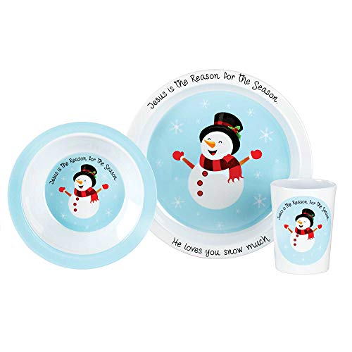 Jesus Is The Reason Snowman Sky Blue 8 x 8 Melamine Christmas Plate Bowl Cup Set