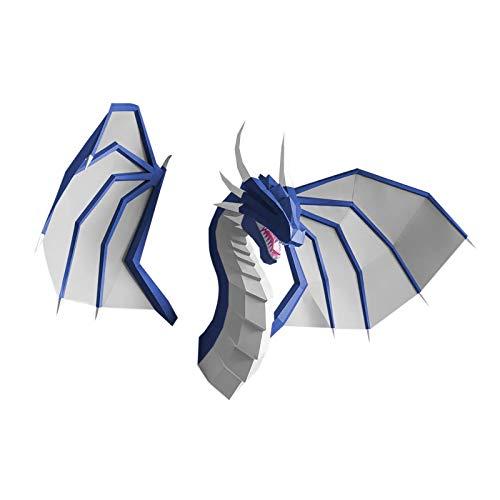 Papercraft DIY 3D Dragón de fuegos papel decoración de pared Papercraft Building Kit Origami papel modelo ornamental DIY juguete para niños pequeños (azul con alas)