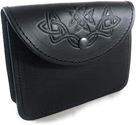 KSUC Supplies Original Leather Embossed Belt Pouch Highland Bag Piper Kilt Belt Sporran Pouch product image