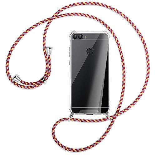 mtb more energy Collar Smartphone para Huawei P Smart (5.65'') - Rojo Amarillo Rayado - Funda Protectora ponible - Carcasa Anti Shock con Cuerda
