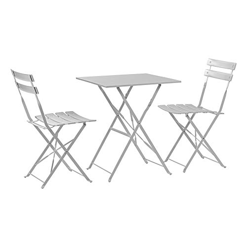 Harbour Housewares 3 Piece Sussex Bistro Set - Folding Table and Chairs Outdoor Patio Garden Furniture - Square - White