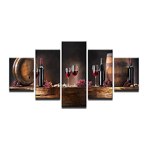 Cuadro sobre Lienzo 5 Piezas 200x100cm Impresión en Lienzo Cuadros Modernos para Dormitorios Sala de Estar Cocina Decoracion de Pared - UVA Vino Tinto,Sin Marco