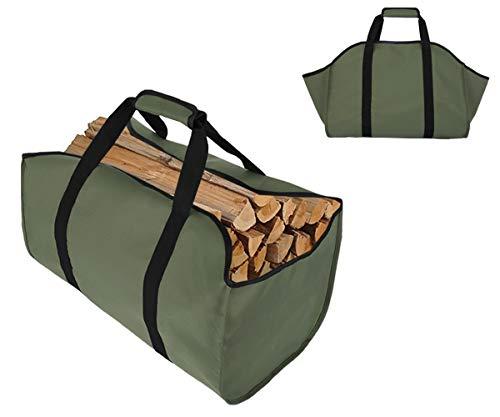 TESSLOVE Bolsa para leña de leña, soporte para leña de lona, extra grande, duradera, ideal para chimeneas, estufas de leña, leña, troncos, camping, paisajismo (L, GREEN)