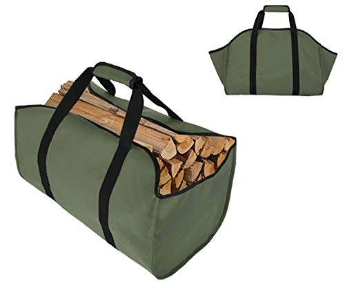 TESSLOVE Firewood Log Carrier Tote BagCanvas Firewood Holder,Extra Large Durable,Best for FireplacesWood StovesFirewoodLogs CampingLandscaping Green 1pcs