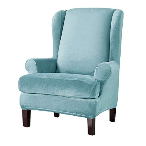 Samt Ohrensessel Überzug Bezug, 2 Stück Elastische Stretch Sesselbezug Abwaschbar Husse Für Ohrensessel Möbelschutz Für Wohnzimmer-Hellblau-Flügelstuhl