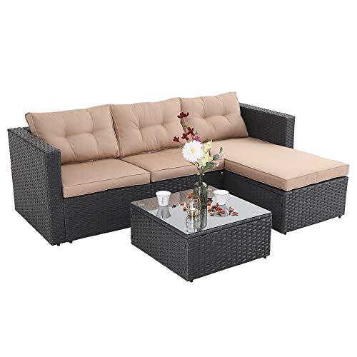 PHI VILLA Outdoor Sectional Rattan Sofa - Wicker Patio Furniture Set (Beige)