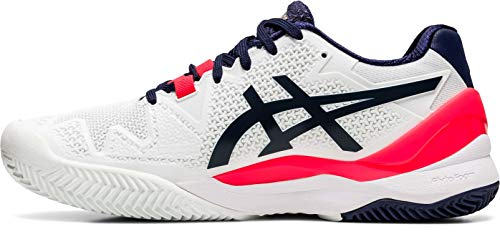ASICS Gel-Resolution 8 Clay, Scarpe da Ginnastica Donna, Bianco/Peacoat, 40 EU