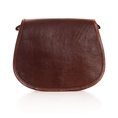 Nama 'Katy' Handtasche Echtes Leder Vintage Umhängetasche für Damen Schultertasche Freizeittasche Retro Design Ledertasche Naturleder Braun
