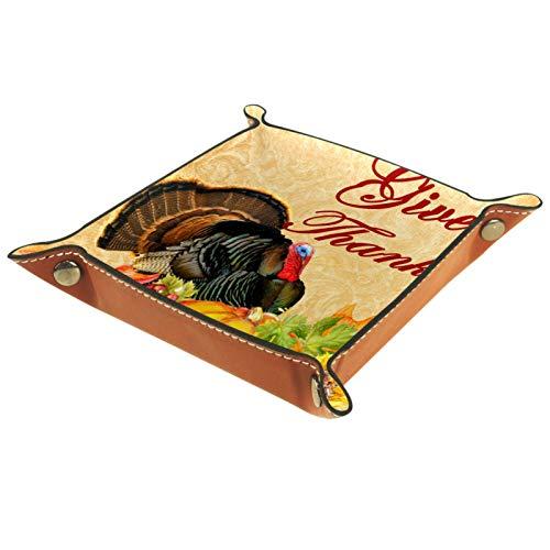 YATELI Caja de Almacenamiento pequeña, Bandeja de Valet para Hombre,Calabaza Turquía de Acción de Gracias de otoño,Organizador de Cuero para Llaves de Caja de Monedas