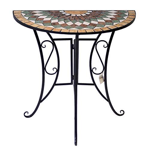 Wohaga Mosaiktisch halbrund 70x35cm Balkontisch Gartentisch Beistelltisch Bistrotisch Eisen Keramik Schwarz/Grün/Weiß/Terrakotta