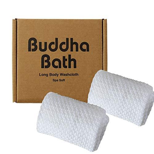 2 Pack - Buddha Bath Spa Soft Long Bath White Washcloth Towel - Face and Body - (SOFT)