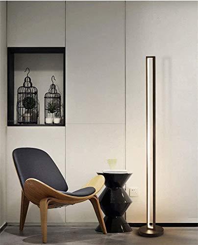 Diseño Lámpara de luz LED de Piso Moderna con Tubo de acrílico Pantalla y Base de Metal 130 cm Lámpara de pie for Sala de Estar Dormitorio Oficina Negro del rectángulo Blanco Caliente