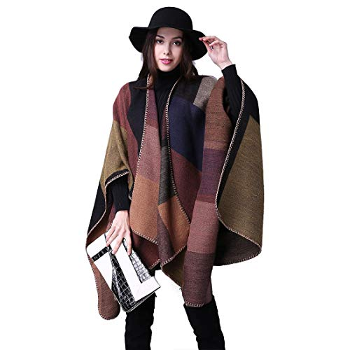 heekpek Damen Poncho Cape übergroßer Winter XXL Damen Schal Langer Hochwertiges Reversible Cape Poncho Patchwork Design Deckenstoffschaln Schalcape Herbstschal Winterschal Karo Tartan Plaid