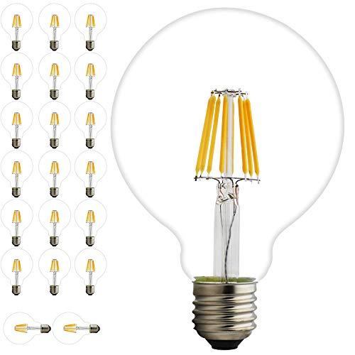 20x 8W Intensité variable G95E27Edison Vintage Filament Ampoule à LED Filament Globe ampoule lampe lumière chaude 2200K