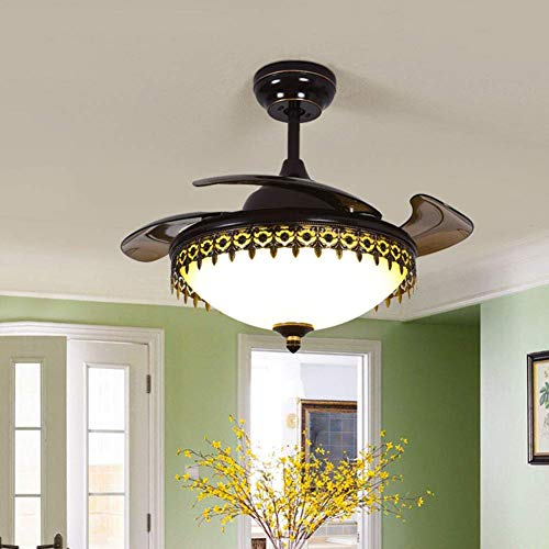 American Reverse Fan 42 Inch Black Retractable 6-Gear Speed Ceiling Fan Light Indoor Remote Chandelier Fan LED Lighting 3 Color Changing with 4 Scalable Blades for Home Decoration