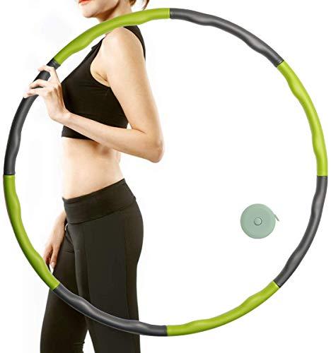 CESHMD Huula Hoop Reifen Fitness zur Gewichtsreduktion Massage, 6-8 Segmente Abnehmbarer Hoola Hoop Reifen ca.1 kg mit Mini Bandmaß für Sport Bauchformung (Grün)