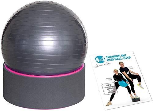 Step Fitness Set multifunzionale con DVD di allenamento Palla per esercizi + pompa Gradino fitness Step & Ball Yoga Aerobica Colore(Fucsia)