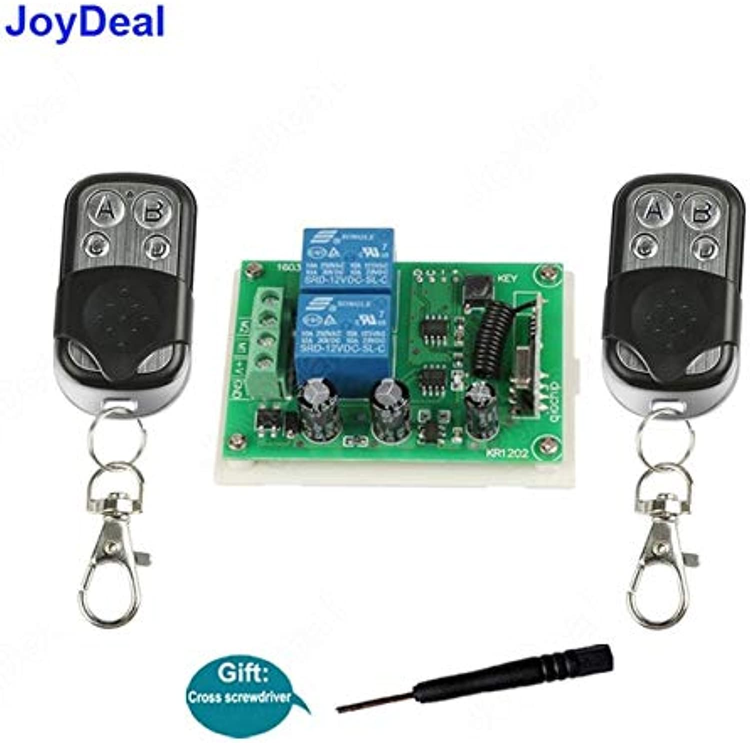 433Mhz Wireless RF Remote Controls DC 12V 2CH Receiver Remote Control Switch for DC Motor Forward and Reverse Controller Switch  (color  2 RC and 1 Receiver)