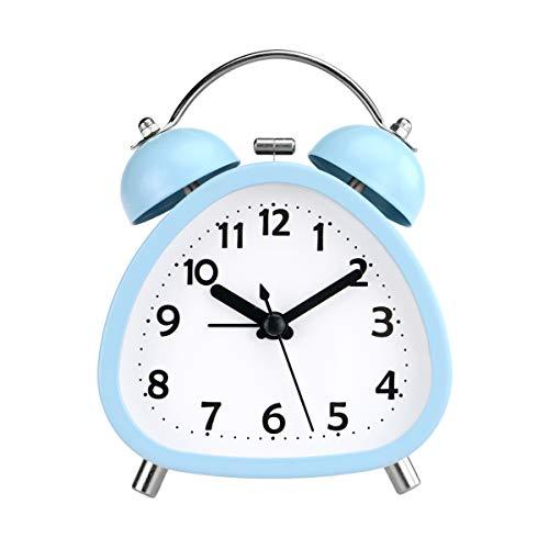 PILIFE 4-inch mini-tweelingbel zonder tikkende wekker, op batterijen werkende analoge luidklok voor het bed met achtergrondverlichting voor jongens en meisjes - hemelsblauw