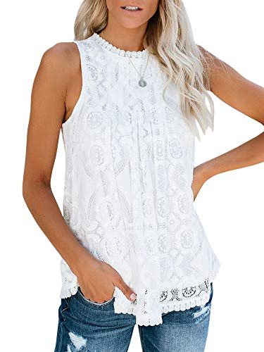Valphsio Womens Lace Crochet Tank Tops Sleeveless Halter Scallop Clubwear Blouse Tops (X-Large, X-White)