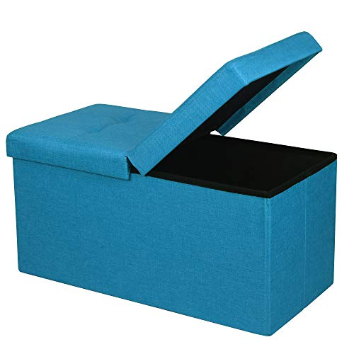 Otto & Ben Folding Toy Box Chest with SMART LIFT Top, Upholstered Tufted Ottomans Bench Foot Rest for Bedroom, Sky Blue