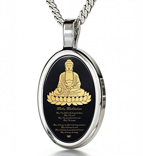 Buddha Jewellery - Metta Prayer Pendant - Sterling Silver Buddha Necklace Inscribed in 24ct Gold on Black Onyx Gemstone - Spiritual Gift Ideas