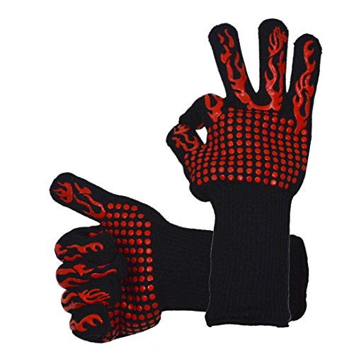 ACOMOO Barbecue Gloves 800℃/1472℉ Very high Temperature Resistant Barbecue Gloves with Finger Non-Slip Oven Gloves, Used for Barbecue, Barbecue, Cooking, Baking Outdoor Cooking Gloves 1 Pair (red)