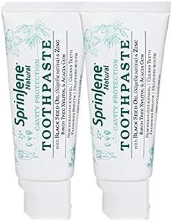 SprinJene Natural 2-Pack Cavity Protection Toothpaste- Vegan, Gluten-Free, SLS Free, Cruelty Free