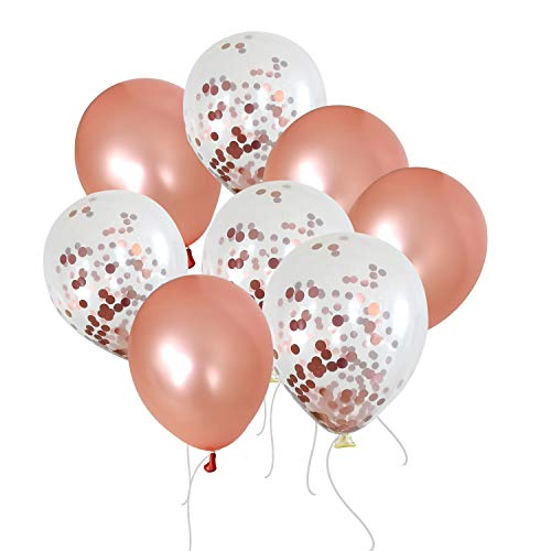 50 12inch Latex Balloons 25 Pearlescent Rose Gold25 Transparent with Confetti Large Thick Big Round Shining Biodegradable Bulk Helium Gas Air Inflated for Kids Birthday Wedding Party Decorations