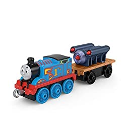 Push-along Thomas train engine with pretend rocket in his cargo car Push the train along to send Rocket Thomas racing around Sodor This die-cast metal Thomas train engine is compatible with TrackMaster and Thomas & Friends wood tracks (Track sold sep...