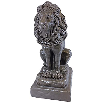 "Emsco Group 92210 Guardian Lion Statue – Natural Appearance – Made of Plastic Resin – Lightweight – 28"" Height Garden, BRONZE"