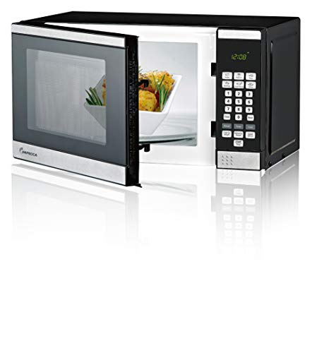 Impecca Countertop Microwave Oven with 10 Power Levels and Digital Display, 0.7 Cubic Feet, 700W Stainless Steel