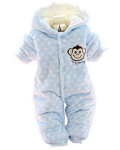 Minetom Herbst Winter Verdickte Overalls Baby Mädchen Jungen Overall Cartoon Coral Fleece Kinderkleidung Warm Einteiler Spieler AFFE Blau 73cm