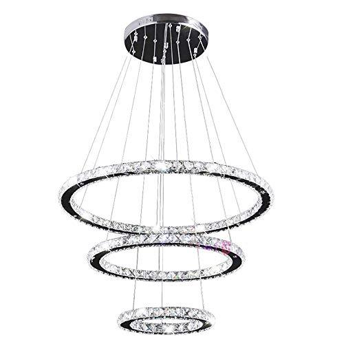 LXSEHN Moderne Kristall 3 Ringe Kronleuchter Led Kronleuchter Decke Für Wohnzimmer Chrom Hängelampe Pendelleuchte Pendelleuchte Lampenlaternen (Color : White light-3rings D20XD40XD60)